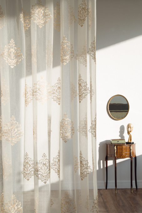 Fabric Opulenza Sheer 3955-22 of Fuggerhaus Spring Collection 2015.