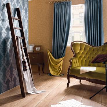 Fuggerhaus wallcoverings Barcarole and Tonica which are part of the collection Ensemble.