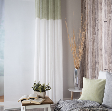 Ready made curtain Caja, panel curtain Manhattan and cushion Svenja out of the Homing collection Nature.